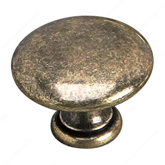 Richelieu Hardware 2449235BB Povera Collection Brass Knob - 2449 in Burnished Brass