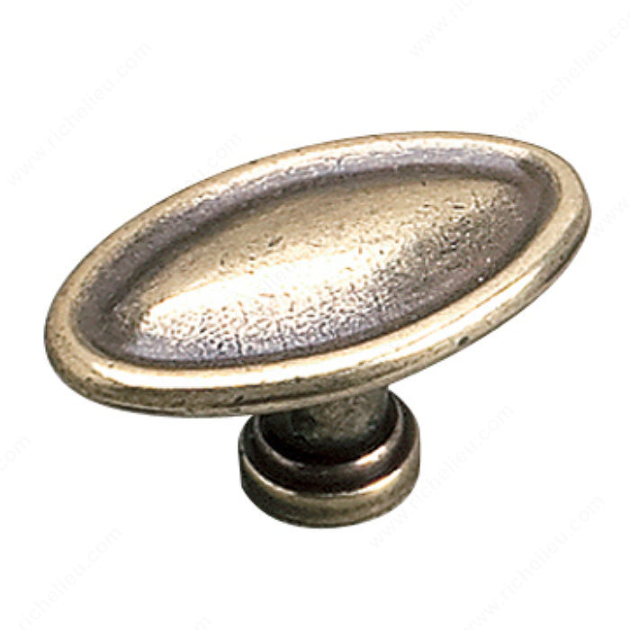 Richelieu Hardware 24463Bb Povera Collection Classic Solid Oval Knob 29MM Burnish Brass Finish