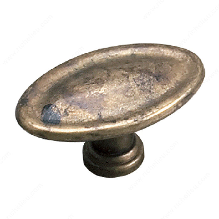 Richelieu Hardware 24463163 Povera Collection Classic Solid Oval Knob 29MM Oxidized Brass Finish