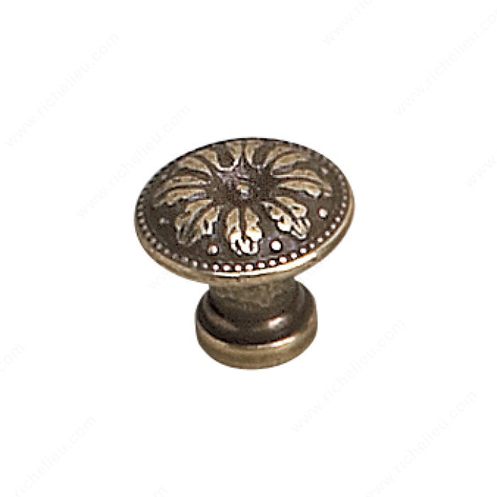 Richelieu Hardware 2447918BB Louis XV Collection Brass Knob - 2447 in Burnished Brass