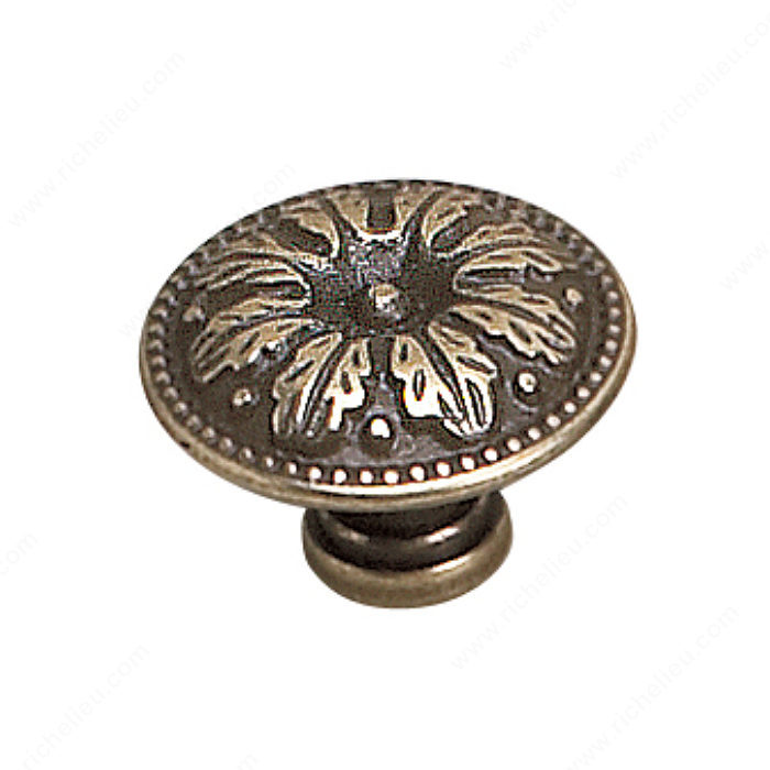 Richelieu Hardware 2447926BB Louis XV Collection Brass Knob - 2447 in Burnished Brass