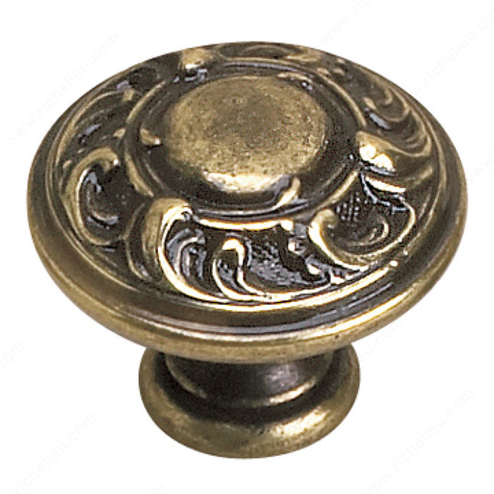 Richelieu Hardware 2440135BB Louis XV Collection Brass Knob - 2440 in Burnished Brass