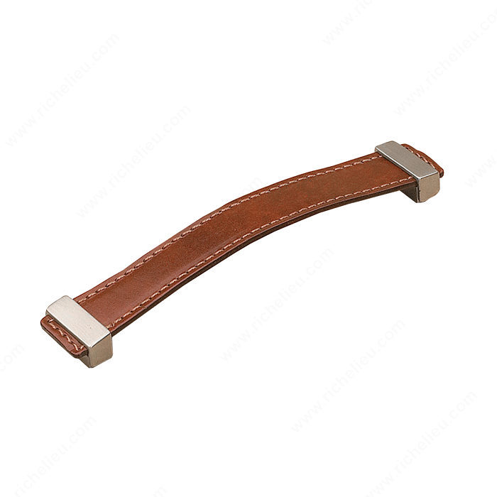 Richelieu Hardware 74536616019545 Contemporary Metal & Leather Handle Pull - 7453 in Brushed Nickel , Brown Leather