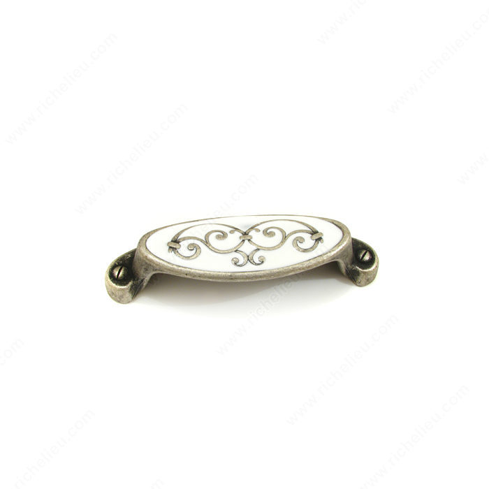Richelieu Hardware 1513064904 Art Deco Collection Brass & Enamel Cup Pull in Faux Iron