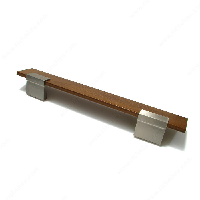 Richelieu Hardware 58500195321 Contemporary Metal & Wood Handle Pull 160MM Brushed Nickel & Walnut Wood Finish