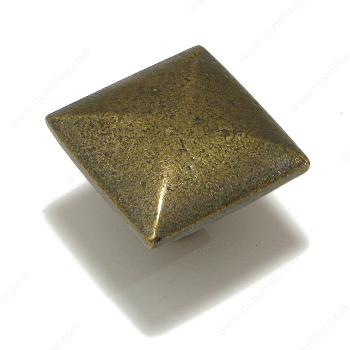 Richelieu Hardware 3257132 Medieval Collection Tradtional Cast Iron Square Knob 35MM English Bronze Finish