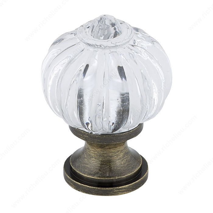 Richelieu Hardware BP4035AE11 Classic Brass & Acrylic Knob in Antique English , Clear