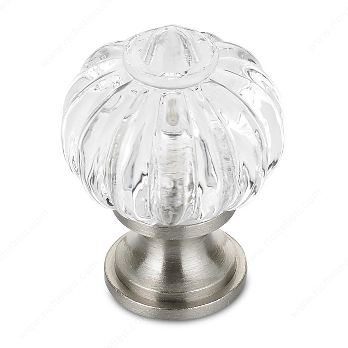 Richelieu Hardware BP403519511 Classic Brass & Acrylic Knob in Brushed Nickel , Clear