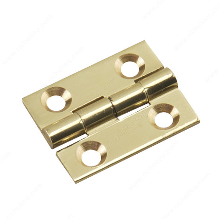 Richelieu Hardware 591Sbr Solid Brass Narrow Butt Hinge 1 Inch X 3/4 Inch Bright Brass Finish