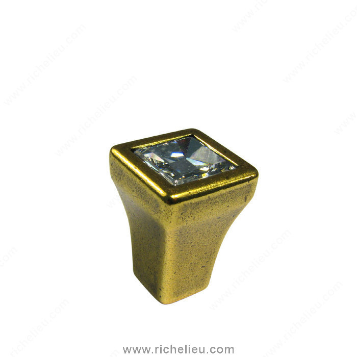 Richelieu Hardware 24215BB01 Transitional Knob in Metal and Swarovski Crystal  -  2421  - Burnished Brass; Crystal