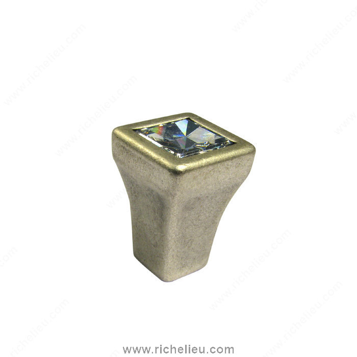 Richelieu Hardware 2421513901 Transitional Knob in Metal and Swarovski Crystal  -  2421  - Old Silver; Crystal