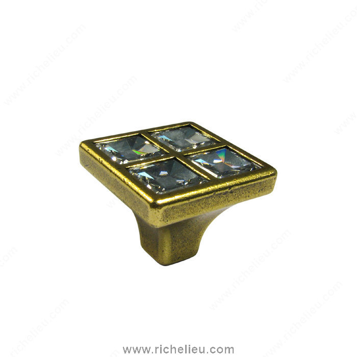 Richelieu Hardware 24227BB01 Transitional Knob in Metal and Swarovski Crystal  -  2422  - Burnished Brass; Crystal