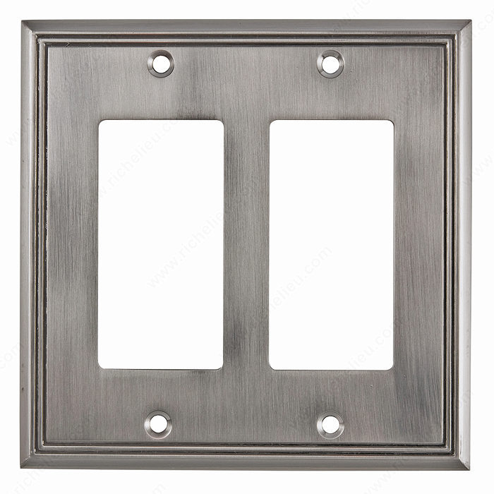 Richelieu Hardware Bp8511195 Contemporary Decorative Switch Plate 2 Toggle 123X123MM Brushed Nickel Finish