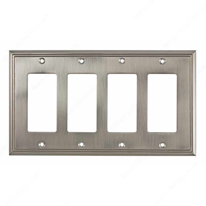 Richelieu Hardware Bp851111195 Contemporary Decorative Switch Plate 4 Toggle 218X123MM Brushed Nickel Finish