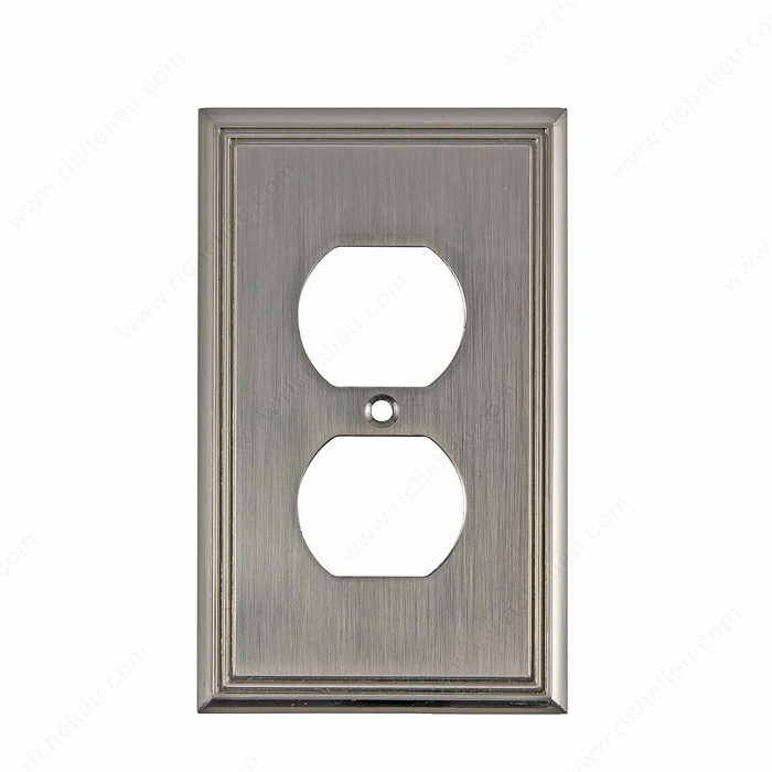 Richelieu Hardware Bp852195 Contemporary Decorative Double Receptacle Wall Plate 125X77MM Brushed Nickel Finish