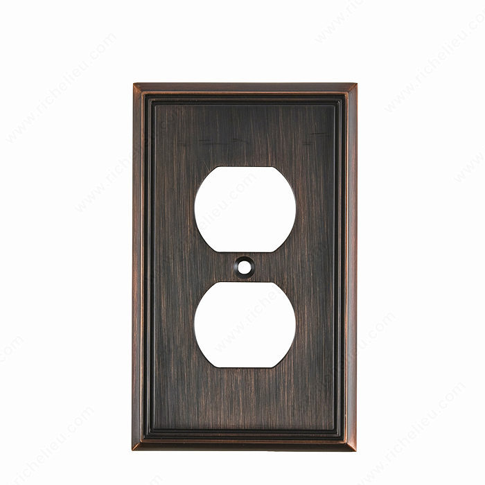 Richelieu Hardware Bp852Borb Contemporary Decorative Double Receptacle Wall Plate 125X77MM Burnish Oil Rubbed Bronze Finish