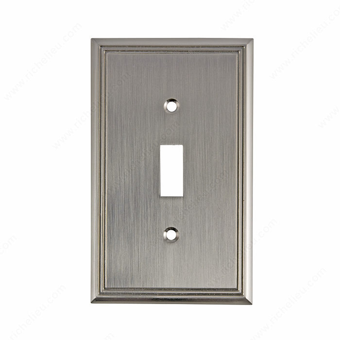 Richelieu BP8531195 Switch Plate 1 Toggle Entry - Contemporary Style in Brushed Nickel