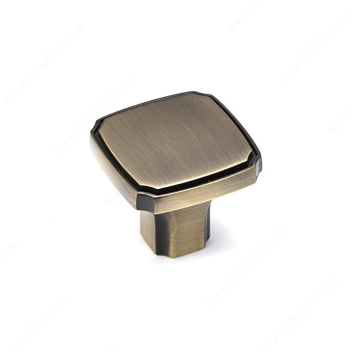 Richelieu Hardware Bp77035Ae Transitional Metal Square Knob 35MM Antique English Finish