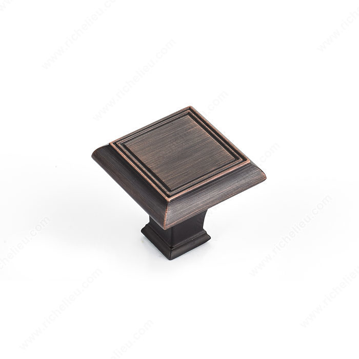 Richelieu Hardware Bp77535Borb Classic Metal Square Knob 35MM Brushed Oil Rubbed Bronze Finish