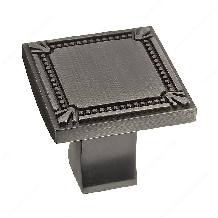Richelieu Hardware Bp78035143 Classic Metal Square Knob With Decorative Trim 35MM Antique Nickel Finish