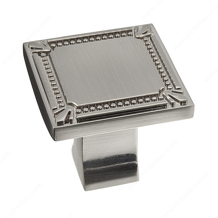 Richelieu Hardware Bp78035195 Classic Metal Square Knob With Decorative Trim 35MM Brushed Nickel Finish