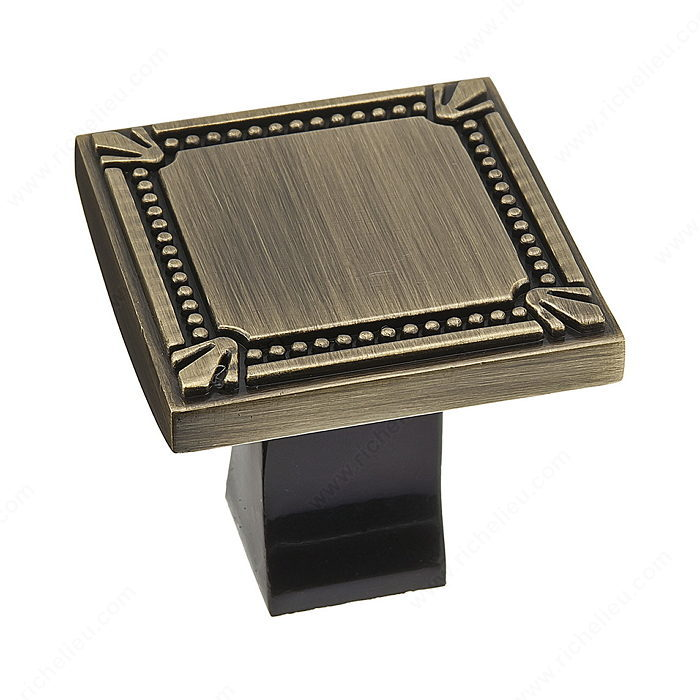 Richelieu Hardware Bp78035Ae Classic Metal Square Knob With Decorative Trim 35MM Antique English Finish