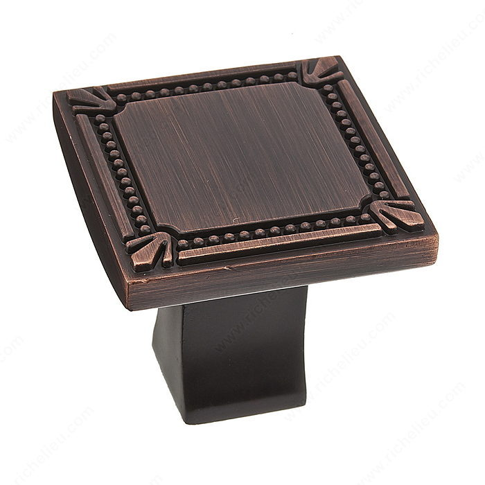 Richelieu Hardware Bp78035Borb Classic Metal Square Knob With Decorative Trim 35MM Brushed Oil Rubbed Bronze Finish
