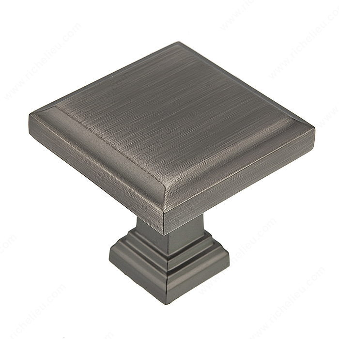 Richelieu Hardware Bp79532143 Transitional Metal Square Knob 32MM Antique Nickel Finish