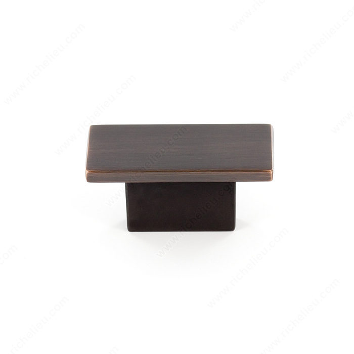 Richelieu Hardware Bp8102116Borb Contemporary Metal Rectangular Knob 16MM Brushed Oil Rubbed Bronze Finish