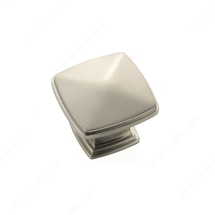 Richelieu Hardware Bp81045195 Classic Metal Diamond Shape Knob With Beveled Edge 43MM Brushed Nickel Finish