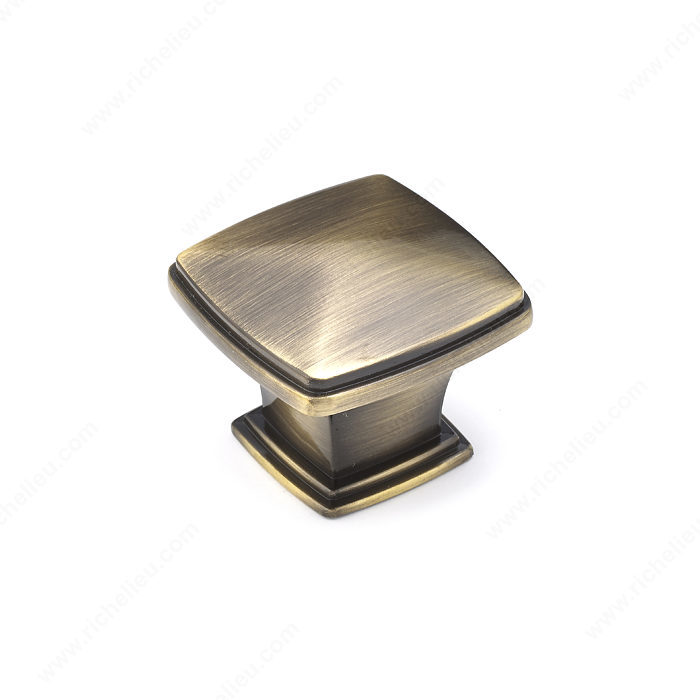 Richelieu Hardware Bp81045Ae Classic Metal Diamond Shape Knob With Beveled Edge 43MM Antique English Finish