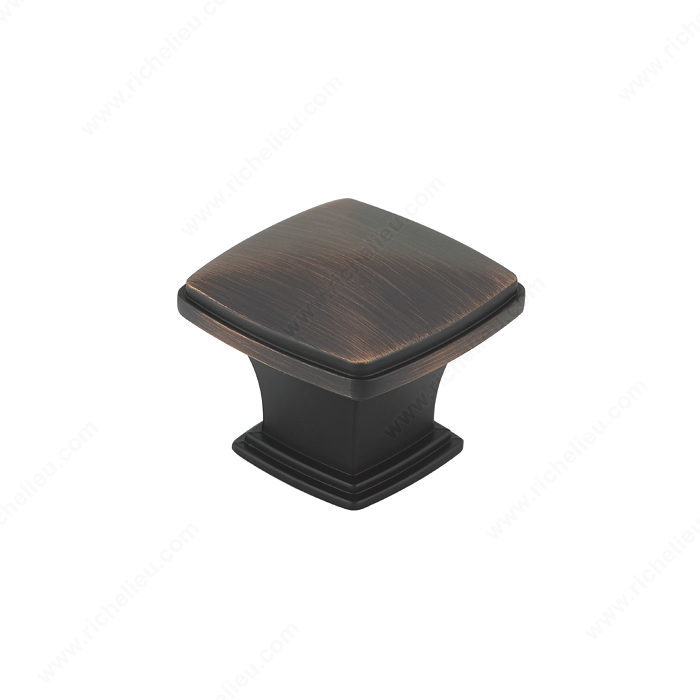 Richelieu Hardware Bp81045Borb Classic Metal Diamond Shape Knob With Beveled Edge 43MM Brushed Oil Rubbed Bronze Finish