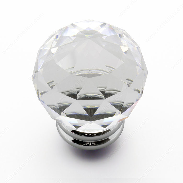 Richelieu Hardware 50364014011 Contemporary Swarovski Crystal Knob 40MM Chrome & Crystal Finish