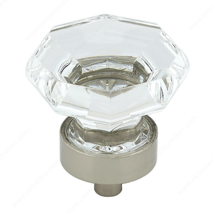 Richelieu Hardware Bp1008519511 Eclectic Metal & Acrylic Knob 32MM Brushed Nickel Finish