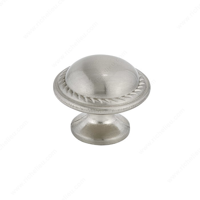 Richelieu Hardware Bp92830195 Classic Metal Button Knob With Decorative Edges 30MM Brushed Nickel Finish
