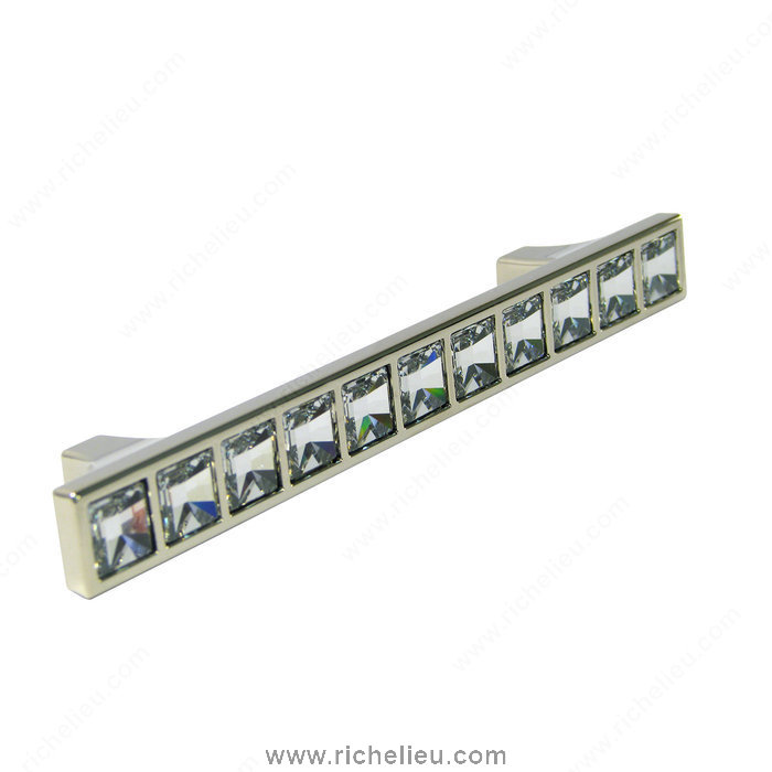 Richelieu Hardware 1529614001 Transitional Pull in Metal and Swarovski Crystal  -  1529  - Chrome; Crystal