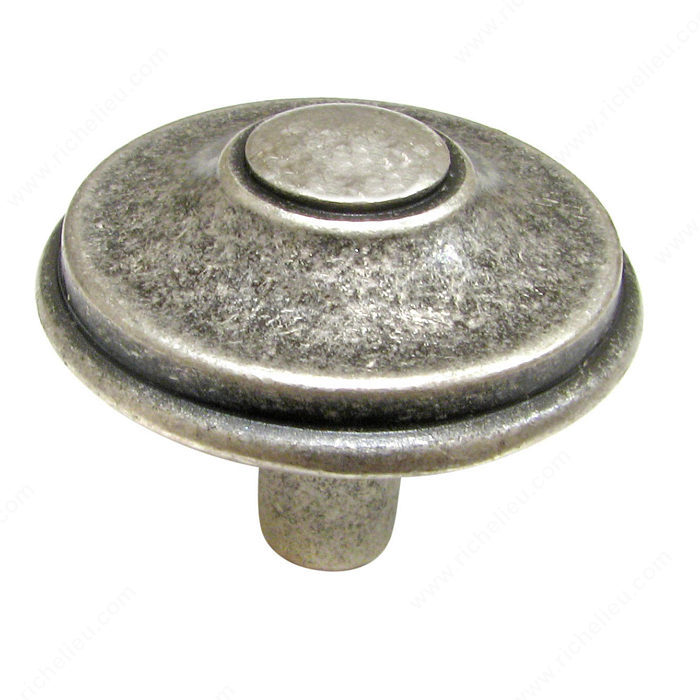 Richelieu Hardware 613433139 Povera Collection Classic Brass Knob 33MM Old Silver Finish