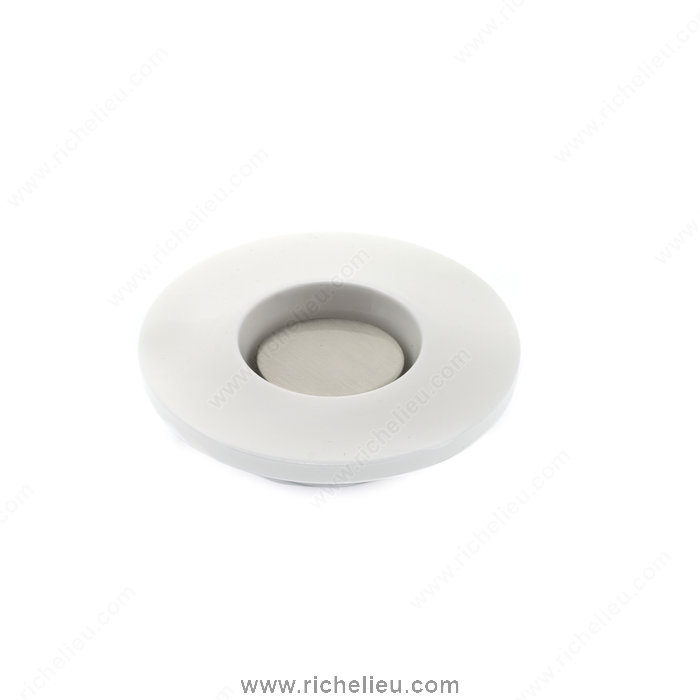 Richelieu Hardware 59257030195 Contemporary Plastic Knob  -  5925  - White; Brushed Nickel
