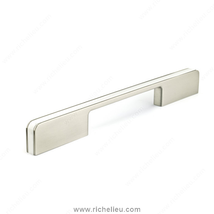 Richelieu Hardware 935316019530 Contemporary Metal & Plastic Pull  -  9353  - White; Brushed Nickel