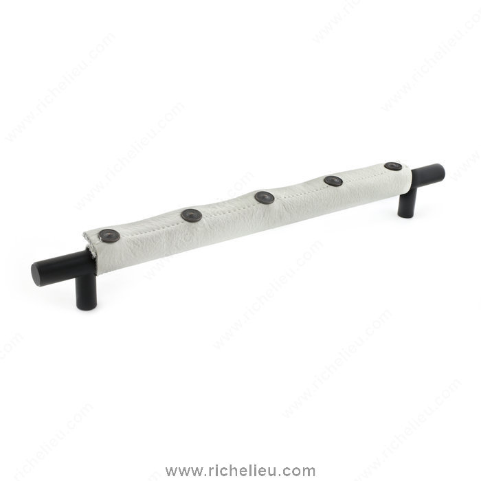 Richelieu Hardware 947425690030 Dressed Pulls in Fabric and Leather  -  9474 & 9432  - White; Matte Black