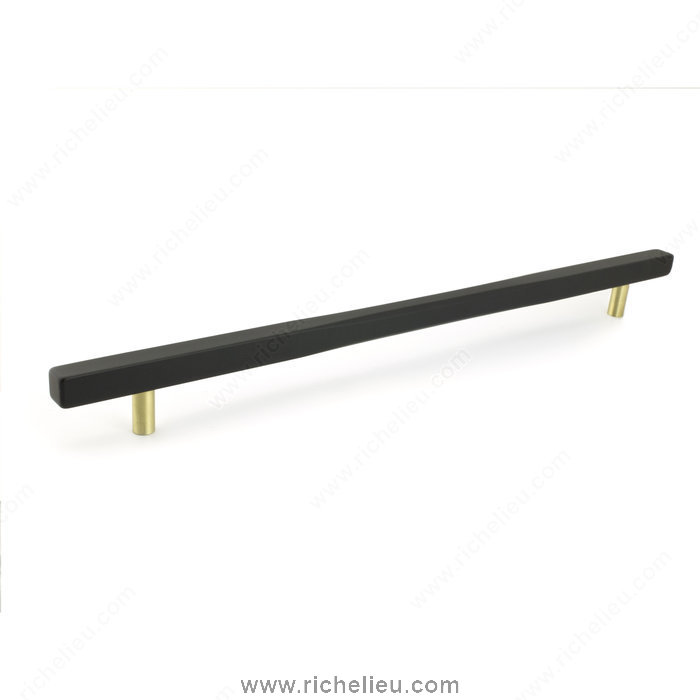 Richelieu Hardware 7735320160900 Contemporary Metal Pull  -  7735  - Black; Satin Brass