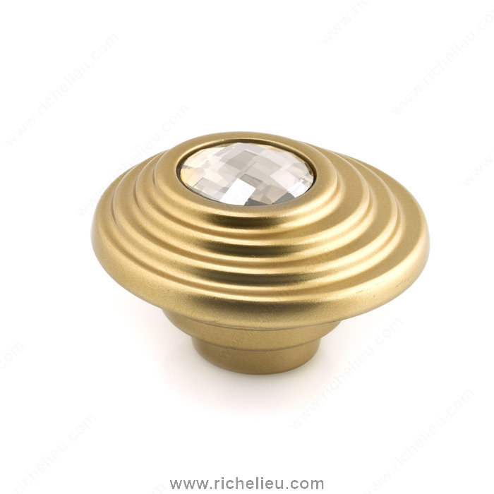 Richelieu Hardware 242705216504 Contemporary Art Deco Knobs Embedded with Swarovski Crystal  -  2427  - Gold Crystal; Matt Gold
