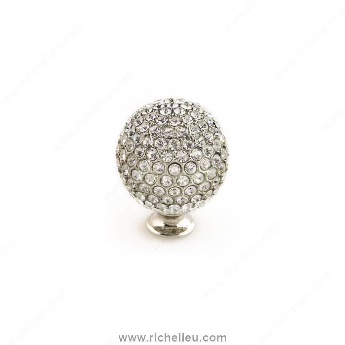 Richelieu Hardware 96013218011 Swarovski Crystal Encrusted Knobs  -  9601  - Nickel; Crystal