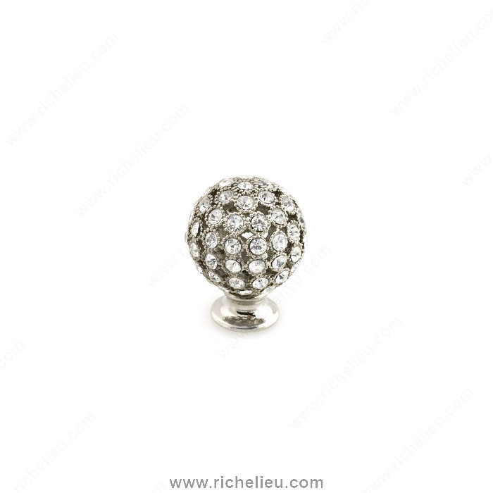 Richelieu Hardware 96012518011 Swarovski Crystal Encrusted Knobs  -  9601  - Nickel; Crystal