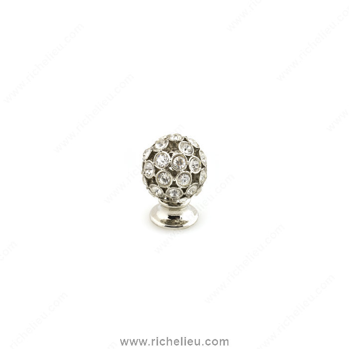 Richelieu Hardware 96012018011 Swarovski Crystal Encrusted Knobs  -  9601  - Nickel; Crystal