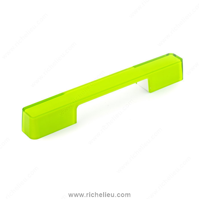 Richelieu Hardware 600716030424 Contemporary Plastic Pull  -  6007  - White; Transparent Lime Green
