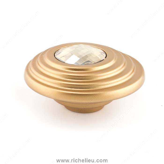 Richelieu Hardware 242707216504 Contemporary Art Deco Knobs Embedded with Swarovski Crystal  -  2427  - Gold Crystal; Matt Gold