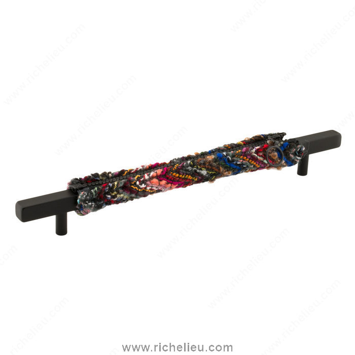 Richelieu Hardware 9432256900521 Dressed Pulls in Fabric and Leather  -  9474 & 9432  - Matte Black; Multicolor