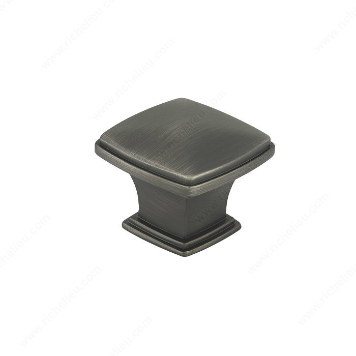 Richelieu Hardware Bp81045143 Classic Metal Diamond Shape Knob With Beveled Edge 43MM Antique Nickel Finish
