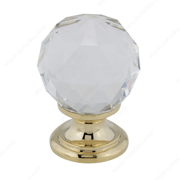 Richelieu Hardware BP999313011 Classic Gold & Crystal Knob - 993 in Brass , Clear